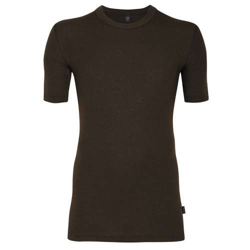 Shirt korte mouw, merinowol, chocolade (5-8)