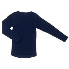 Shirt lange mouw, wol, marine (90-170)