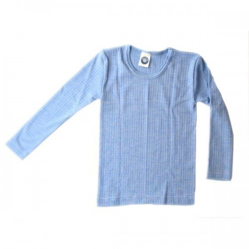 Shirt lange mouw, wol/zijde/katoen, blauw (92-152)