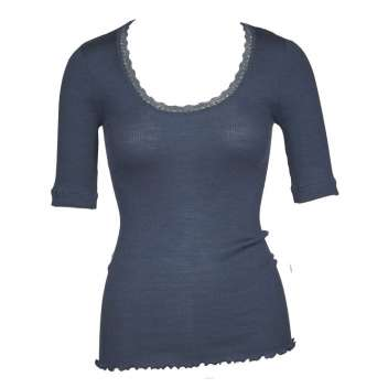 Shirt short sleeved with lace, wool/silk, oceano (S-XL)