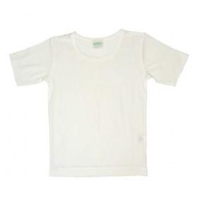 Shirt korte mouw, biologische zijde, wit (104-164)