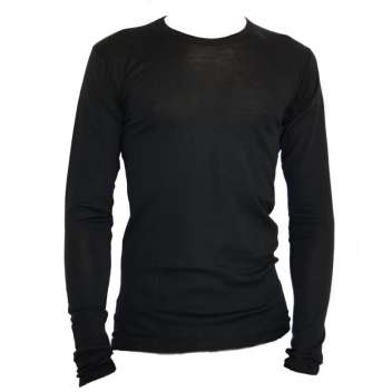 Shirt long sleeved, wool/silk, black (S-XXL)