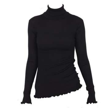 Shirt long sleeved, wool/silk with turtle neck, black (36-42)