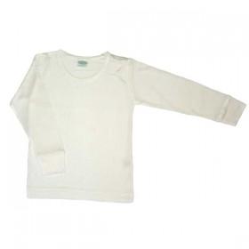 Shirt lange mouw, biologische zijde, wit (104-164)
