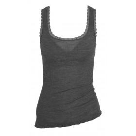 Hemd, wol/zijde met kantje, leisteen (XS-L)