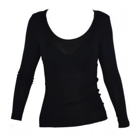 Shirt lange mouw, wol/zijde, zwart (XS-XXL)