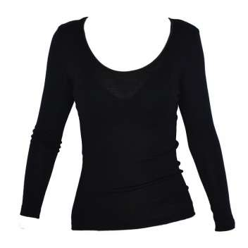 Shirt long sleeved, wool/silk, black (XS-XXL)