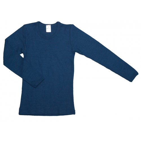 Shirt lange mouw, wol/zijde, donkerblauw (92-164)